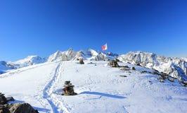 Montanha de Hohsaas, 3.142 m Os cumes, Suíça Fotografia de Stock Royalty Free