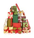 Montanha de presentes de Natal Fotos de Stock Royalty Free