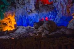 Montanha dentro da caverna com iluminação colorido em Vietname Fotografia de Stock
