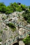 Montanha do castelo com a torre de pulso de disparo em Graz Fotos de Stock