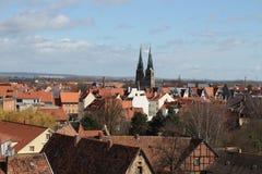 A montanha do castelo em Quedlinburg Foto de Stock