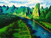 Montanha e água ilustração do vetor