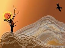 Montanha e pássaro Ilustração do Vetor
