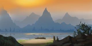 Montanha e rio chineses Contexto da ficção Arte do conceito ilustração royalty free