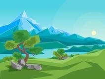 Montanha e rio do verão dos desenhos animados em um fundo da paisagem Vetor Fotos de Stock Royalty Free