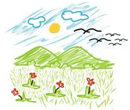 Montanha e sol do vetor do estilo da criança Foto de Stock