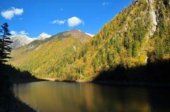 Montanha em Jiuzhaigou com o lago contrastingly escuro Fotos de Stock Royalty Free
