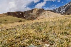A montanha floresce nuvens do pico da neve Imagens de Stock