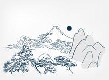 Montanha japonesa do cartão do chinês do fundo da paisagem do vetor ilustração stock