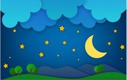 Montanha na paisagem da fantasia da noite Ilustração do Vetor