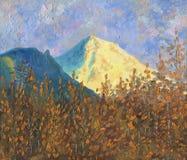 Montanha nevado grande no sol no alvorecer ilustração royalty free
