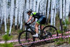 Montanha que biking abaixo da fuga Foto de Stock Royalty Free
