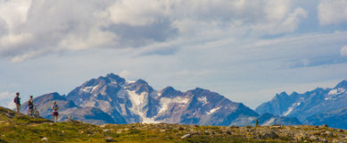 Montanha que biking em mountians canadenses Imagens de Stock