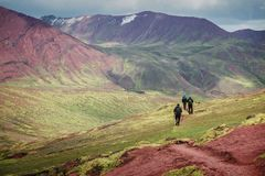 Montanha que trekking no Peru imagens de stock royalty free
