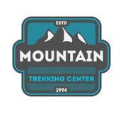 Montanha que trekking vintage center o crachá isolado Foto de Stock