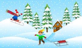 Montanha sledding do menino dois alegre ilustração royalty free