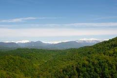 Montanhas íngremes contra a floresta verde Fotos de Stock