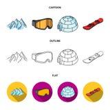 Montanhas, óculos de proteção, um iglu, um snowboard Ícones ajustados da coleção da estância de esqui nos desenhos animados, esbo Foto de Stock Royalty Free