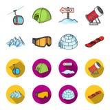 Montanhas, óculos de proteção, um iglu, um snowboard Ícones ajustados da coleção da estância de esqui nos desenhos animados, esto Foto de Stock Royalty Free