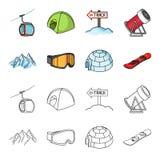 Montanhas, óculos de proteção, um iglu, um snowboard Ícones ajustados da coleção da estância de esqui nos desenhos animados, esto Fotografia de Stock
