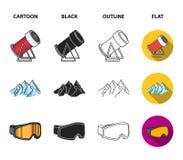 Montanhas, óculos de proteção, um iglu, um snowboard Ícones ajustados da coleção da estância de esqui nos desenhos animados, pret Imagens de Stock