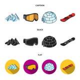 Montanhas, óculos de proteção, um iglu, um snowboard Ícones ajustados da coleção da estância de esqui nos desenhos animados, pret Fotos de Stock Royalty Free