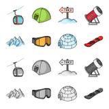 Montanhas, óculos de proteção, um iglu, um snowboard Ícones ajustados da coleção da estância de esqui nos desenhos animados, símb Imagem de Stock
