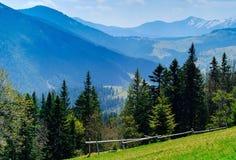 Montanhas altas, fundo do céu azul e florestas, conceito de t Fotos de Stock