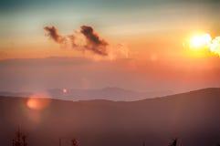 Montanhas azuis de Ridge Parkway Autumn Sunset Appalachian imagens de stock royalty free