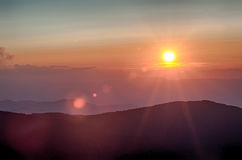 Montanhas azuis de Ridge Parkway Autumn Sunset Appalachian foto de stock