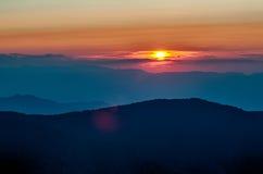Montanhas azuis de Ridge Parkway Autumn Sunset Appalachian fotografia de stock