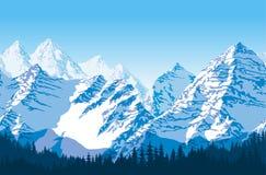 Montanhas bonitas azuis do vetor sem emenda com teste padrão da floresta Imagens de Stock Royalty Free