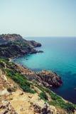 Montanhas bonitas do iate do mar do cabo Imagem de Stock Royalty Free