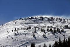 Montanhas Carpathian do inverno no dia do vento Foto de Stock