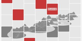 Montanhas cinzentas do mosaico da malha do polígono nos cubos Fotografia de Stock Royalty Free