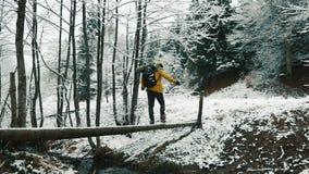 Montanhas cobertos de neve durante o tempo de inverno Um caminhante que veste uma trouxa está cruzando o córrego filme