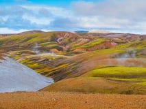 Montanhas coloridas do arco-íris de Landmannalaugar Imagens de Stock
