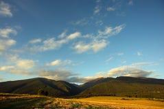 Montanhas com campo amarelo Fotografia de Stock