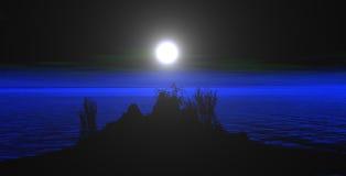 Montanhas com a lua Fotos de Stock Royalty Free