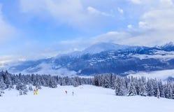 Montanhas com neve no inverno Ski Resort Laax Imagens de Stock Royalty Free