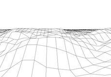 Montanhas da paisagem de Wireframe 3D Cartografia 3D futurista Fio da paisagem de Wireframe Grade do Cyberspace ilustração do vetor