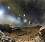 Montanhas da paisagem e espaço do cosmos Fotos de Stock Royalty Free