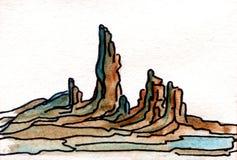 Montanhas da pintura da aquarela Foto de Stock Royalty Free