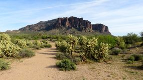 Montanhas da superstição, o Arizona, de uma distância fotos de stock royalty free