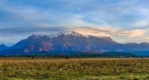 Montanhas de Bucegi, Brasov, Romênia: Ajardine a vista na luz do nevado, Bucegi do por do sol, Romênia fotografia de stock
