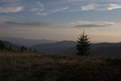Montanhas de Carpathians - por do sol Foto de Stock Royalty Free