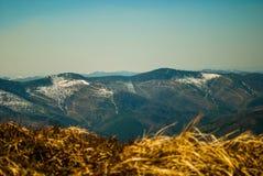 Montanhas de Carpatian na mola Scole imagens de stock royalty free