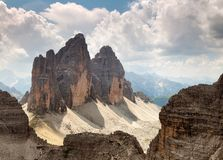 Montanhas de Drei Zinnen ou de Tre Cime di Lavaredo Dolomiten Foto de Stock Royalty Free