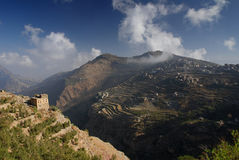 Montanhas de Haraz completamente dos terraços de campos cultivados Fotos de Stock Royalty Free