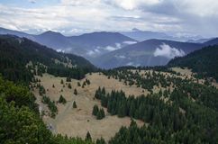 Montanhas de Mala Fatra NP com prados e florestas, Eslováquia Fotografia de Stock Royalty Free